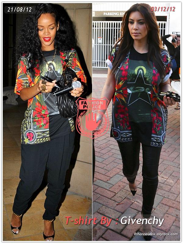 » Un air de déjà vu... Rihanna et Kim Kardashian ont craqué sur le  même T-shirt ! Un détail qui n'a pas échappé à la Fashion Police de RihannaLook ! Alors ... votre préférence ?