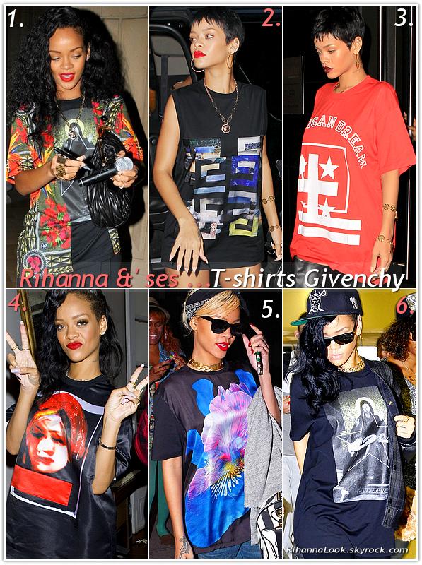 """» Voici quelques """" T-shirts Givenchy """" que la chanteuse Rihanna a porté  : Choisissez votre T-shirt Givenchy   favori !"""