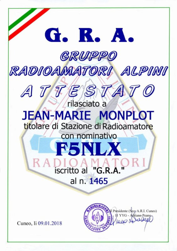 MEMBER OF ALPINI GROUP N° 1465