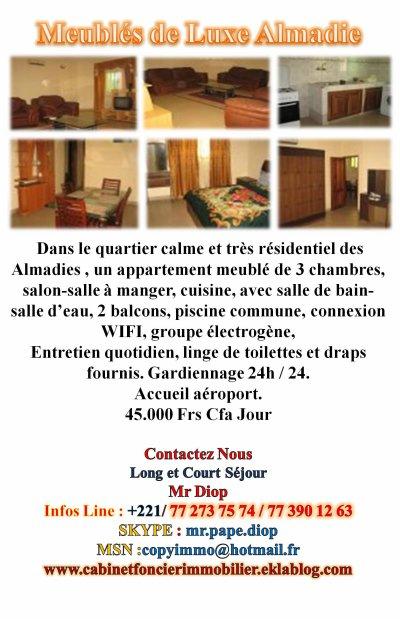 Locations Simples et Meubles Studio Appartements Villas Partouts A Dakar Saly Thies Yenne Toubab Dialaw Somone ...Renseignez Vous