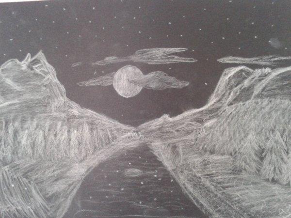 """Dessin 1 """"paysage de nuit"""""""