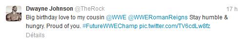 ♠ The Rock voit son cousin comme le prochain champion de la WWE.