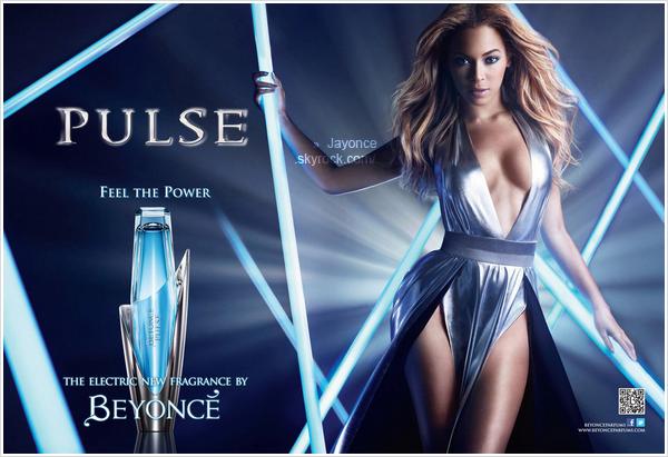 . _____  Voici une publicité pour « Pulse », le nouveau parfum de Beyoncé.  ___________La sortie du parfum est prévue pour ce mois-ci. Pas de datte exacte.  .