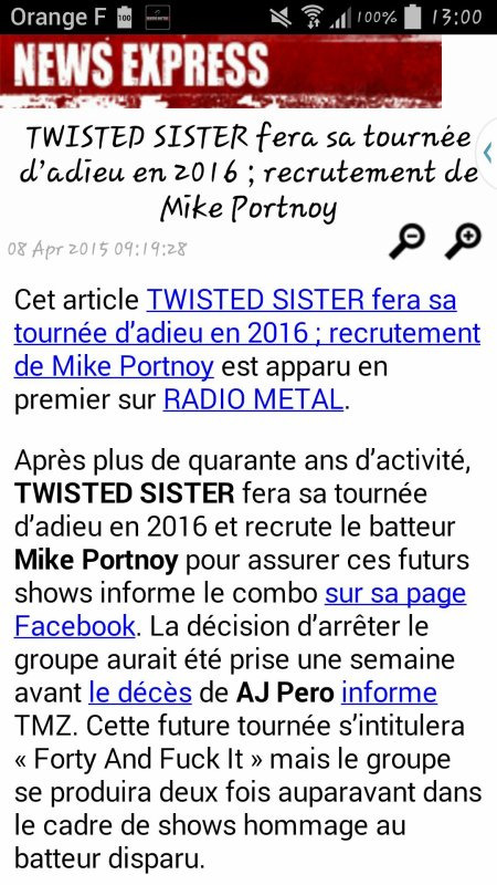 Adieu Twisted Sister?