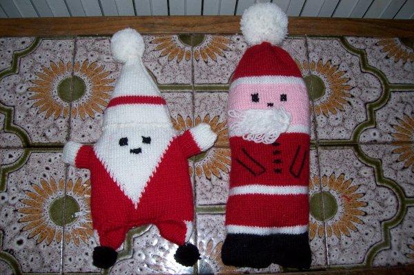pere noel et lutin au tricot