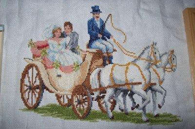 tableau broderie couple de mariés