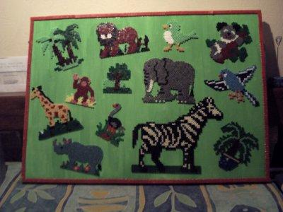 le tableau de la jungle en perle hama
