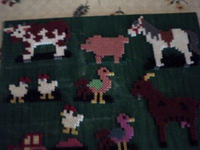 modele des animaux de la ferme en perle  hama