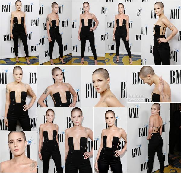 09/05/2017 •• Halsey a assisté a la cérémonie des BMI Pop Awards a Los Angeles, en Californie. Ash s'est de nouveau rasé la tête ! Pour ma part, c'est un gros coup de c½ur pour cette sortie, j'aime énormément le look et la tenue : TOP !
