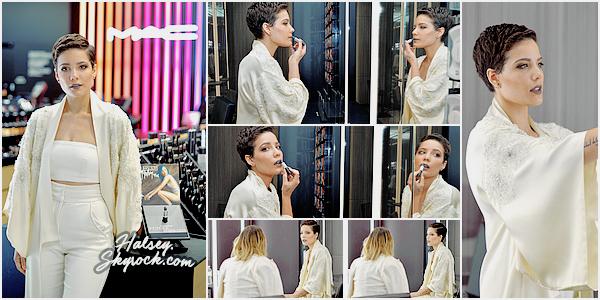 30/03/2016 • • Halsey s'est rendu chez M.A.C pour le lancement de son rouge à lèvres.