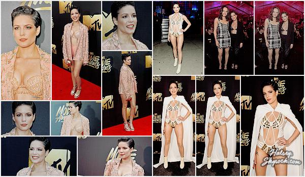 09/04/2016 • • Halsey était présente au MTV Movie Awards 2016, a Burbank ( Californie )  Tenue de sirène sur le tapis rouge pour se changer en guerrière de conte de fées pour sa performance, cliquez ici !
