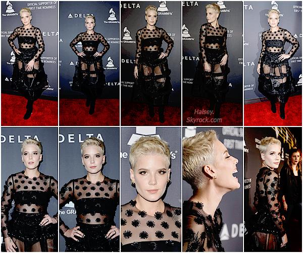 09/02/2017 • • Halsey était présente à un événement privé organisé par Delta Air Line.  La compagnie a organisé l'évent pour la soirée des Grammy, make-up très joli mais je n'aime pas son look, c'est un gros flop.