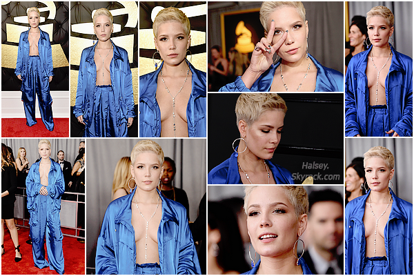 12/02/2017 • • Halsey était présente la cérémonie des Grammy Awards a Los Angeles, Californie.  Halsey était nominé dans deux catégories mais elle n'a malheureusement pas gagné, coté tenue je n'aime pas trop son ensemble, néanmoins j'aime bien sa deuxième tenue. Son make up est très simple et discret, top.