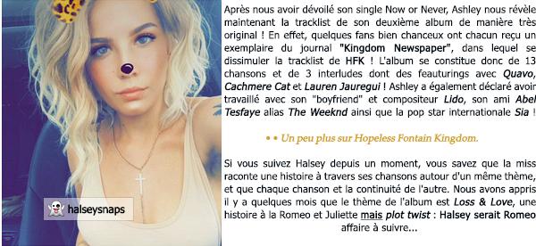 • • La tracklist officielle de l'album « Hopeless Fontain Kingdom » est enfin la ! * Collaboration avec Lauren Jauregui ? Messages cachés ? Tout est en dessous ! Rendez-vous le 02 juin pour la première écoute !