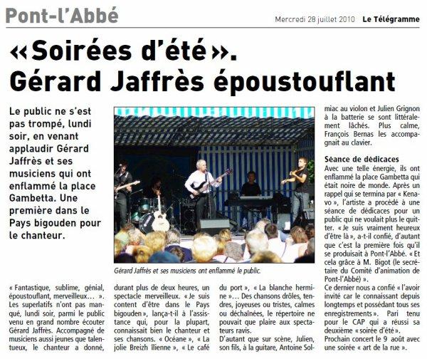 La tournée Bretonne 2010 vue à travers des articles du Télégramme !