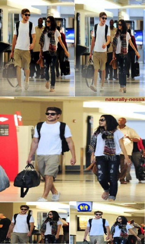 Vanessa & Zac à l'aéroport de LAX le 19 août pour le départ à Hawaii