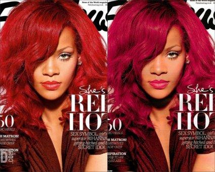 Sur la une d'un magazine anglais, nous découvrons la chanteuse Rihanna teinte en rouge... Et en rose.