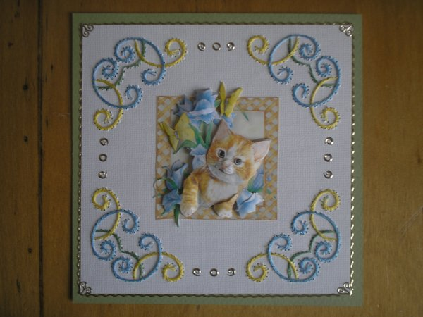 "Carte 3D ""Chaton roux"""