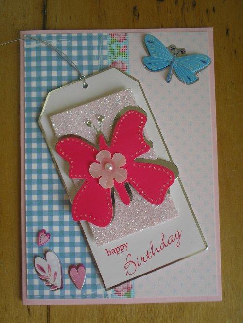 "Carte Tag ""papillon rose 1"""