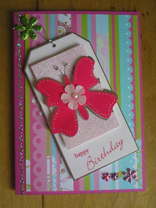 "Carte Tag ""Papillon rose 2"""