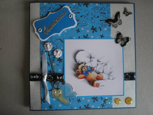 """Carte 3d """"Esquisse - Bébé et son ourson"""""""