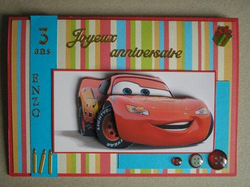 """Carte 3D """"Cars 3 ans d'Enzo"""""""
