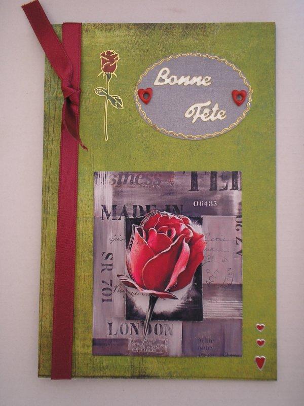 """Carte 3D """"Bouton de Rose - Bonne fête"""""""