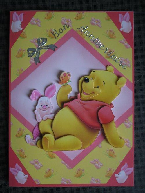 """Carte 3D """"Winnie et Porcinet"""""""