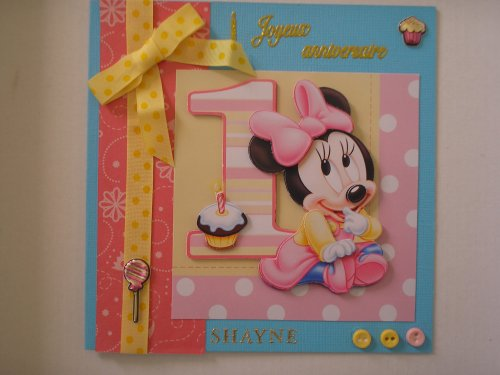"Carte 3D ""Minnie 1 an"""