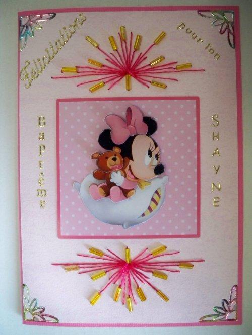 "Carde 3D ""Minnie baptême 2"""