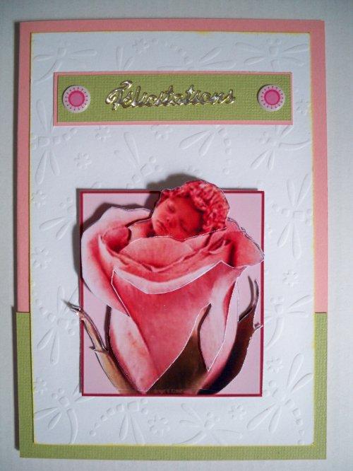 """Carte 3D """"Bébé à la rose"""""""