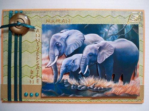 "Carte 3D ""Eléphants"""