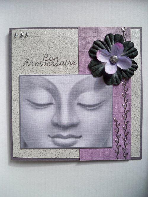 Carte Bouddha tons mauve