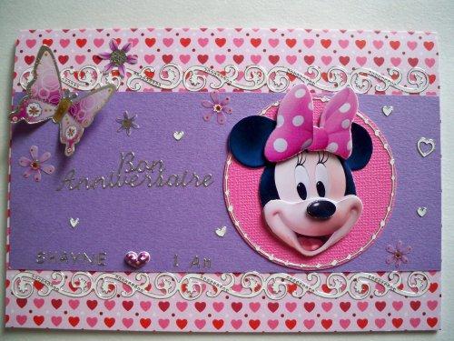 "Carte 3D ""Minnie - tons mauves"""