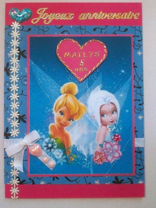 """Carte d'anniversaire """"Fée clochette et Crystal"""""""