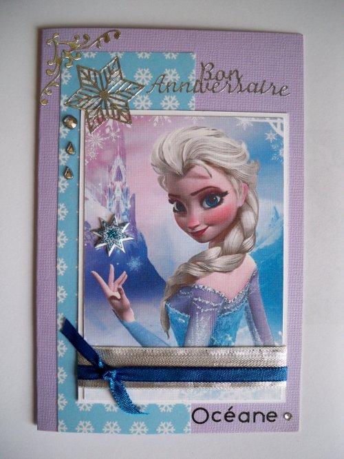 """Carte d'anniversaire """"La Reine des Neiges"""""""