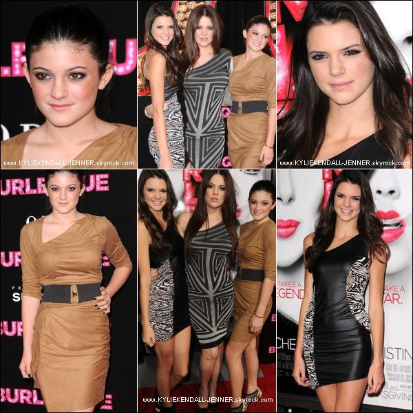 . ________EVENTS - Kylie,Kendall & leurs soeur Khloé lors de l'avant première de BURLESQUE, ce 15 Nov .   .