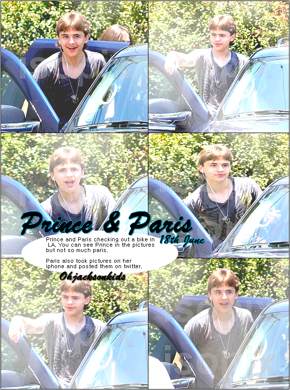 Prince and Paris checking out a bike in LA- 18th June &+ Paris and a friend.