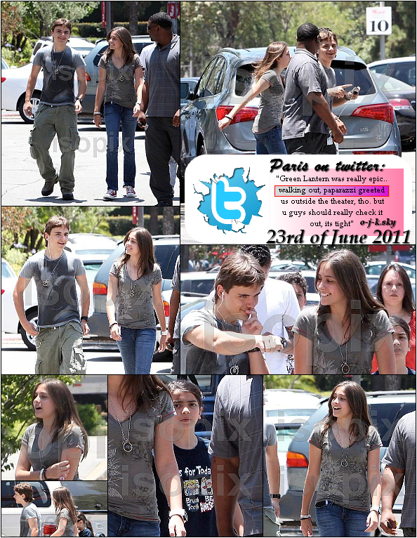 Prince, Paris and Blanket Jackson go to see Green lantern at the movies- 23rd June 2011//