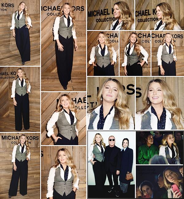 . • 12/02/20  : Blake Lively assistait au défilé « Michael Kors » organisé pendant la fashion-week de New-York (US) : Quel plaisir de retrouver Blake pendant la FW ! Je ne suis pas spécialement fan de la tenue, surtout le bas, mais elle est toute souriante. Un p'tit bof !