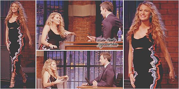 . 22/06/16 : Perfect Lively s'est rendue au talk-show « The Late Night with Seth Meyers » à New-York (US) : Blake a parlé de sa grossesse mais aussi de son prochain film sorti ce vendredi (24/06) aux USA . Beau top pour elle ; jolie de la tête aux pieds ! .