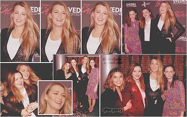 . 15/05/17 : Blake Lively était présente à la projection du film « Paint in Black  » organisée dans New-York (US) : Venue soutenir son amie et réalisatrice du film Amber Tamblyn, elle était avec ses autres co-star du film Quatre filles et un jean. Beau top de la belle !