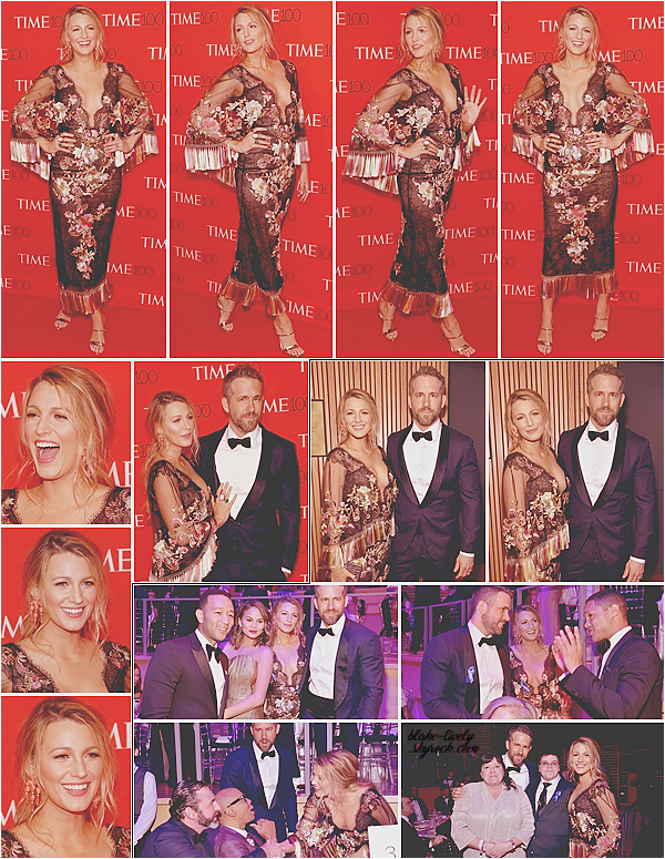 . 25/04/17 : Miss Blake Lively était présente à l'événement  « Time 100 Gala  » organisé dans New-York City (US) : Blake rayonnait aux côtés de son mari Ryan Reynolds. John Legend & Chrissy Teigen étaient aussi présents. Un top pour l'ensemble signé Marchesa!