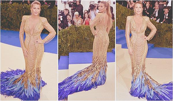 . 01/05/17 : Perfect Blake était présente au prestigieux « Metropolitan Museum of Art - Gala  » à New-York (US)  Evénement du mois de mai où tout le gratin d'Hollywood se réunit, Blake rayonnait au bras de son mari Ryan dans une sublime robe Atelier Versace!