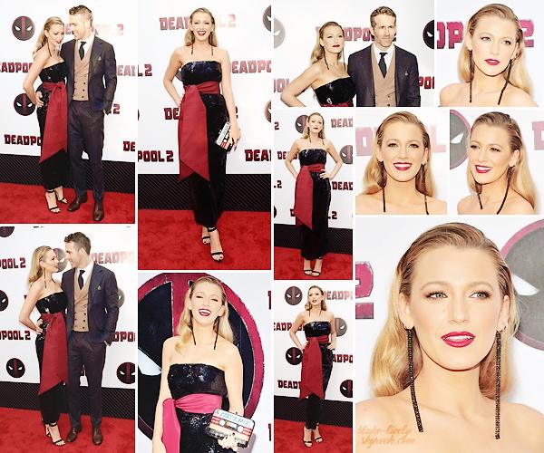 . • 14/05/18 : Blake Lively était présente à l'avant-première du film « Deadpool 2  » organisée dans New-York (US) : Venue soutenir son mari Ryan Reynolds , la belle a posé à son bras dans une robe signée Brandon Maxwell. C'est un beau top, une vraie beauté fatale !