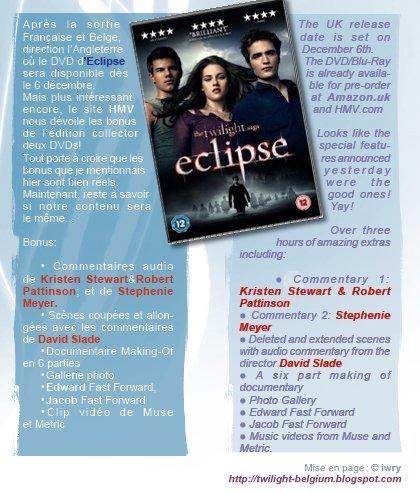 date de sorti pour le dvd d'eclipse