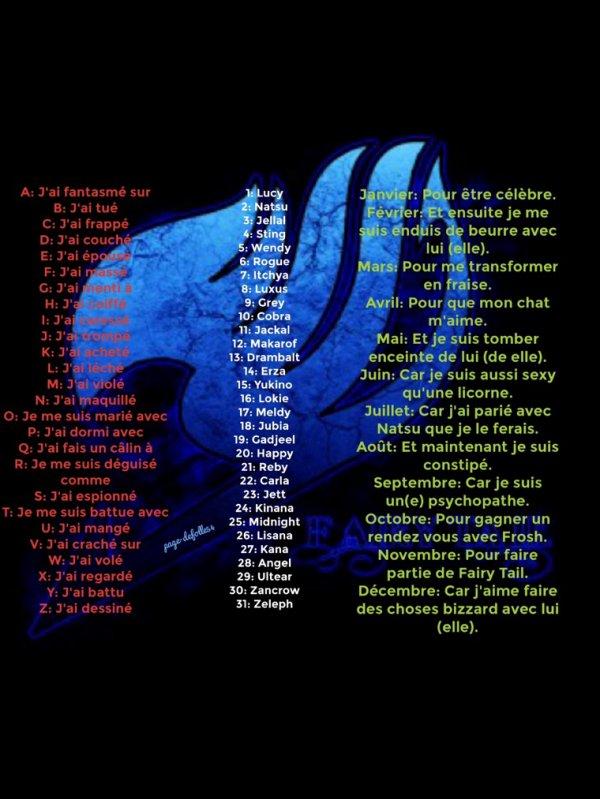 Lettre+Chiffre+Mois= phrase bizzard sur Fairy Tail