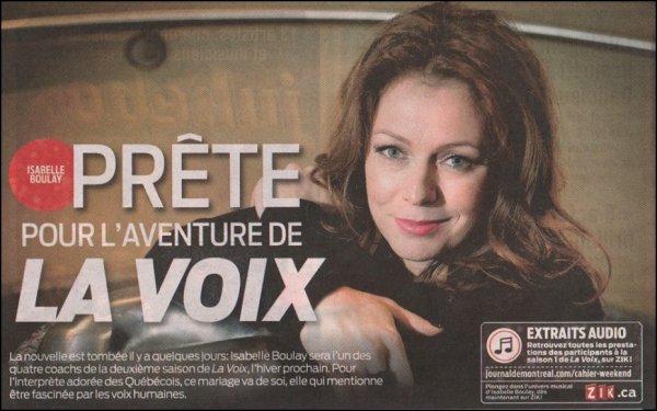 """ISABELLE BOULAY : Prête pour l'Aventure de """"LA VOIX"""" !!!"""