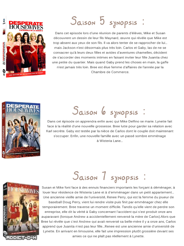 Desperate Housewives les synopsis des saisons!