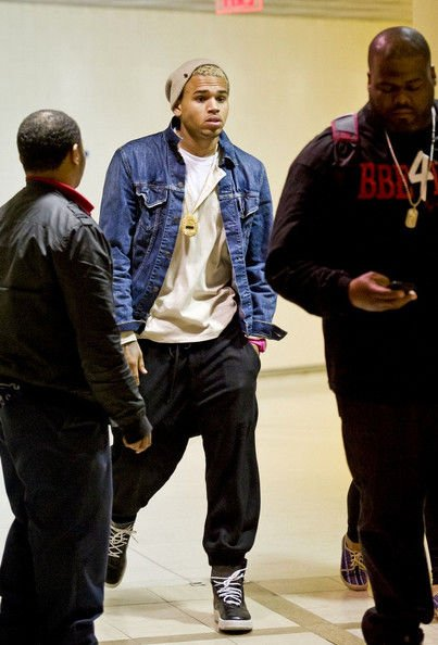 Chris Brown Lands at LAX Airport